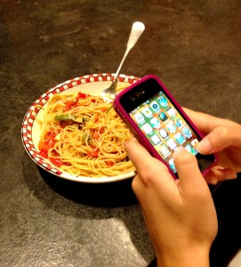 Eating while on cell