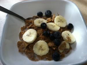 Breakfast cereal banana blueberries