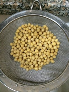 Chicpeas in strainer