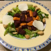 Roasted Beet and Sweet Potato Salad with Balsamic Dijon Vinaigrette