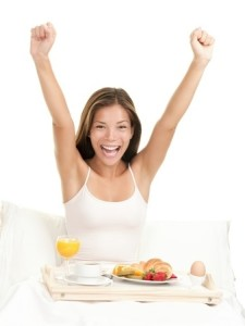 Woman smile arms up breakfast