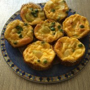 Crust-less Quiche Muffins with Peas, Leeks, and Ricotta