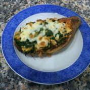 Spinach Stuffed Twice Baked Sweet Potato