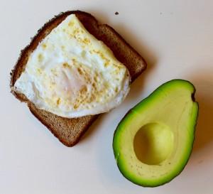 Egg, bread, avocado
