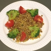 Buckwheat with Warm Spices, Steamed Broccoli, and Tomatoes